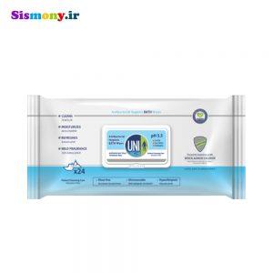 دستمال مرطوب حمام یونی لد مدل Antibacterial Hygenic بسته ۲۴ عددی
