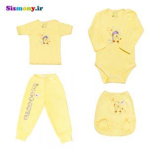 ست لباس نوزاد بیبی دی مدل اردک بامزه بسته ۴ عددی