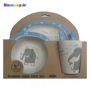 سرویس غذا خوری کودک ۵ پارچه بامبو مدل فیل