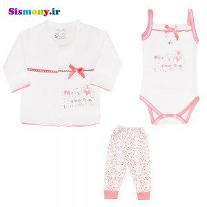 ست لباس نوزاد بیبی دی مدل جغد بسته ۳ عددی