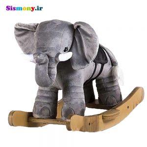 راکر چوبی پولیشی کودک طرح فیل