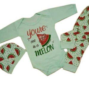 ست ۳تکه لباس نوزادی طرح هندوانه