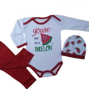 لباس نوزادی ۳تکه یلدا طرح هندوانه